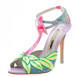 Sophia Webster Multicolor Patent Leather Flamingo Peep Toe T Strap Sandals Size 38