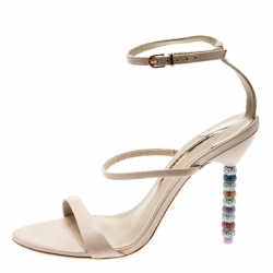 Sophia Webster Beige Leather Rosalind Crystal Heel Ankle Strap Open Toe Sandals Size 40