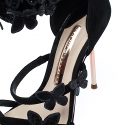 Sophia Webster Black Suede And Patent Leather Butterfly Ankle Wrap Sandals Size 36