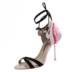 Sophia Webster Multicolor Fabric Suede Leather Flamingo Frill Ankle Wrap Sandals Size 40