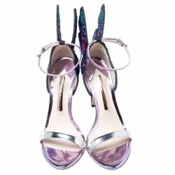 Sophia Webster Multicolor Patent Leather and Fabric Chiara Butterfly Ankle Strap Sandals Size 36