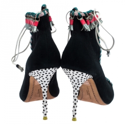 Sophia Webster Multicolor Suede and Leather Simi Lace Up Ankle Booties Size 37