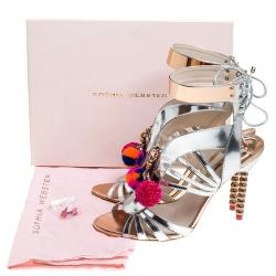Sophia Webster Metallic Silver Mirrored Leather Yasmina Pom Pom Embellished Sandals Size 42