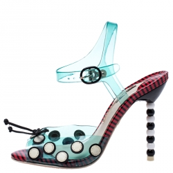Sophia Webster Multicolor Jelly And Leather Bow Ankle Strap Sandals Size 37