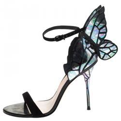 Sophia Webster Multicolor Patent Leather and Black Suede Chiara Butterfly Ankle Strap Sandals Size 38