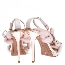 Sophia Webster Pink Faux Fur And Leather Bella Bow Embellished Ankle Strap Sandals Size 37
