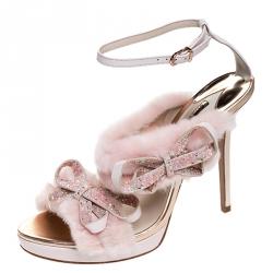 Sophia Webster Pink Faux Fur And Leather Bella Bow Embellished Ankle Strap Sandals Size 40