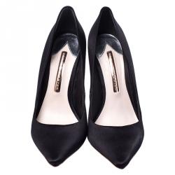 Sophia Webster Black Satin Crystal Embellished Coco Pumps Size 37.5