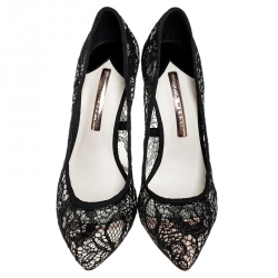 Sophia Webster Black Lace Coco Crystal Pointed Toe Pumps Size 36