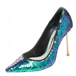 Sophia Webster Blue Sequin Fabric Coco Pumps Size 36
