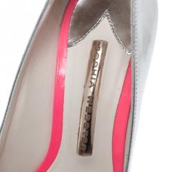 Sophia Webster Metallic Silver Leather Lola Gem Pointed Toe Pumps Size 36