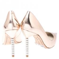 Sophia Webster Metallic Rose Gold Crystal Embellished Heel Coco Pumps Size 40.5