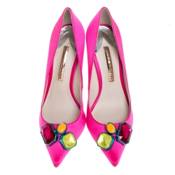 Sophia Webster Hot Pink Satin Lola Gem Pointed Toe Pumps Size 41