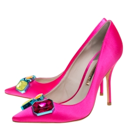 Sophia Webster Hot Pink Satin Lola Gem Pointed Toe Pumps Size 41