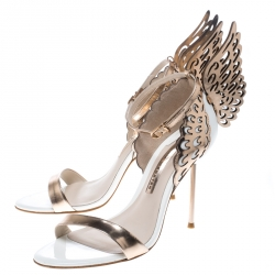 Sophia Webster Rose Gold Leather And White Evangeline Open Toe Sandals Size 38.5
