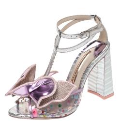 Sophia Webster Multicolor Metallic Leather And PVC Lana Crystal Embellished Block Heel Sandals Size 36
