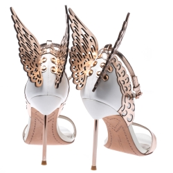 Sophia Webster Metallic Bronze And White Leather Evangeline Wing Ankle Strap Sandals Size 38.5