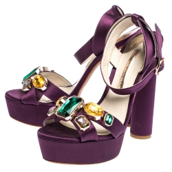 Sophia Webster Purple Satin Amanda Crystal Embellished Cross Strap Sandals Size 41