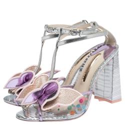 Sophia Webster Multicolor Metallic Leather And PVC Lana Crystal Embellished Block Heel Sandals Size 40