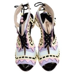 Sophia Webster Multicolor Leather Cutout Ankle Wrap Sandals Size 39