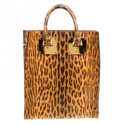 Sophie Hulme Leopard Print Leather Albion Top Handle Bag