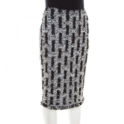St. John Couture Monochrome Textured Lurex Knit Crystal Embellished Pencil Skirt S