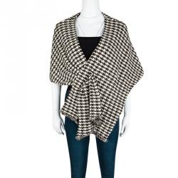 St. John Textured Houndstooth Pattern Asymmetric Twist Front Shrug M/L