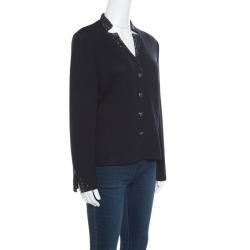 St. John Evening Navy Blue Wool Embellished Heart Buttoned Cardigan L