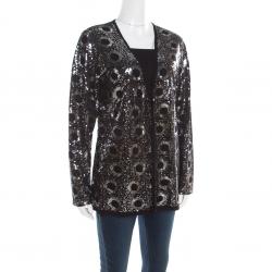 St. John Black Silk and Cashmere Knit Sequin Embellished Cardigan L