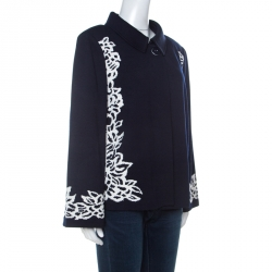 St. John Navy Blue Floral Patterned Knit Flared Sleeve Jacket XL