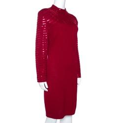 St. John Evening Maroon Knit Embellished Mock Neck Dress L
