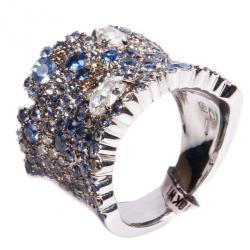 Stefan Hafner Fancy Sapphire and Diamond 18K White Gold Band Ring Size 54