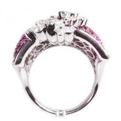 Stefan Hafner Fancy Rubies and Diamonds 18K White Gold Ring Size 54