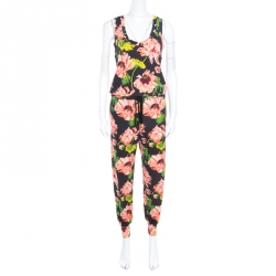 eeca0d92ae0f7 Stella McCartney Black Floral Intarsia Knit Waist Tie Detail Jumpsuit S