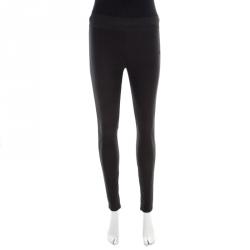 6782ac5146 Stella McCartney Black Knit Elasticized Waist Iconic Heather Leggings S