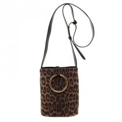 Stella McCartney Brown Leopard Print Faux Pony Hair Small Bucket Shoulder  Bag 5158e5c9aef43