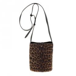 Stella McCartney Brown Leopard Print Faux Pony Hair Small Bucket Shoulder Bag