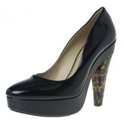 Stella McCartney Black Leather Corinne Platform Pumps Size 39