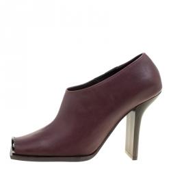 31d2d273b8d Stella McCartney Burgundy Faux Leather Square Toe Ankle Boots Size 37