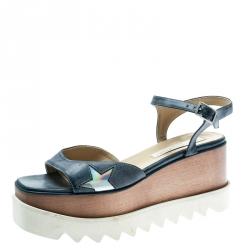 8455a33bc Stella McCartney Light Wash Denim Texture Faux Leather Indium Elyse Star Platform  Sandals Size 39