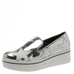 9866798c99816 Stella McCartney Metallic Silver Faux Leather Binx Star Platform Slip On  Sneakers Size 40