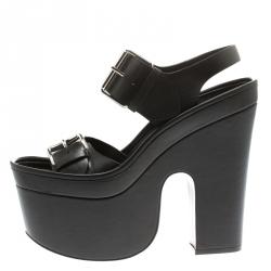 e12cbddee63 Stella McCartney Black Faux Leather Buckle Block Heel Platform Sandals Size  37.5