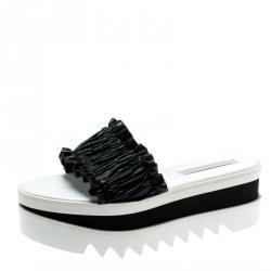 ae20fb0b290c Stella McCartney Black Ruffle Faux Leather Platform Slide Sandals Size 40.5