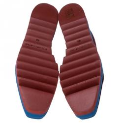 Stella McCartney Burgundy/Blue Velvet Elyse Platform Derby Size 40.5