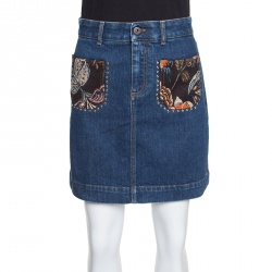 2186e328349 Stella McCartney Indigo Denim Floral Jacquard Trim Studded Mini Skirt S