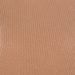 Stella McCartney Toffee Brown Ribbed Knit Wool Handkerchief Hem Sweater M