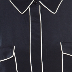 Stella McCartney Navy Blue Silk Crepe de Chine Eagle Embroidered Detail Shirt M