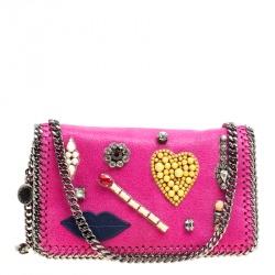 Stella McCartney Pink Faux Leather Embellished Falabella Crossbody Bag