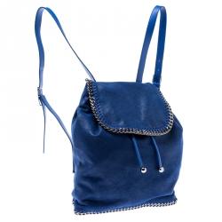 Stella McCartney Blue Faux Leather Falabella Shaggy Backpack