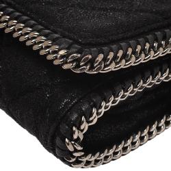 Stella McCartney Black Faux Leather Falabella Chain Clutch